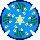 Flowers surround a Star of David in the center.