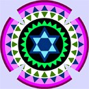Kippah in vivid colors with gear-like design.