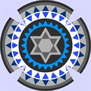 Kippah using a circular toothy pattern in vivid and contrasting colors.