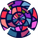 Stained glass pattern, in three closely fitted rings of bright colors.
