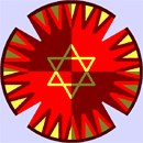 Blazing colors make the center star pop out in this kippah design.