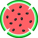 Whimsical fruity design depicting a cross section of ripe watermelon.