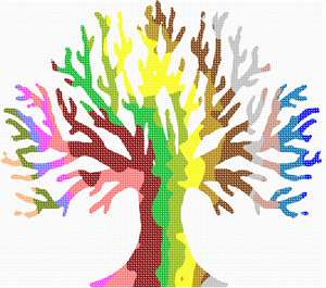 The shape of a tree filled with wavy stripes of multiple colors.