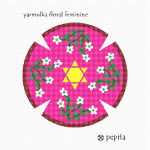 Feminine version of the yarmulka floral design.  A kippah is a brimless cap, usually made of cloth, traditionally worn by Jewish males to fulfill the customary requirement that the head be covered. It is worn by men in Orthodox communities at all times.