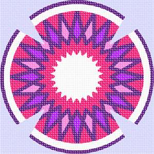 Yarmulka with a spiny design in fuschia colors.
