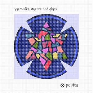 Yarmulka featuring a stained-glass star design.  Stained glass design is very popular on many Judaica items. You stitch the front. After it is completely stitched, it is sent to a professional finisher who turns it into a yarmulka. You do not stitch the periwinkle areas nor the triangles.