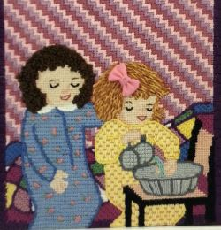 Needlepoint canvases that present subjects enjoyed by or featuring children.