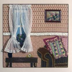 Regal living areas make wonderful subjects for needlepoint pieces. Choose a pleasant home scene from among the following designs.