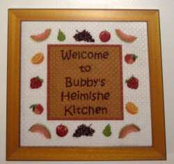 Signs containing timely messages or other relevant direction. Stitch them up and finish as attractive wall-hangings.